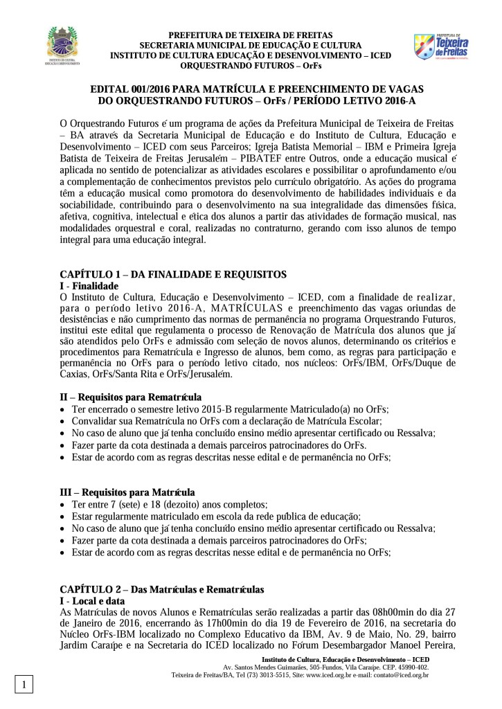 Edital para preenchimento de vagas remanescentes do OrFs 2016-A (pág. 1)
